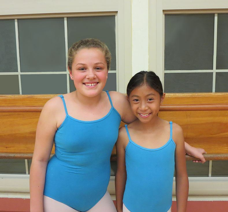 Two Girls in Blue leotards MINUS bkround windows