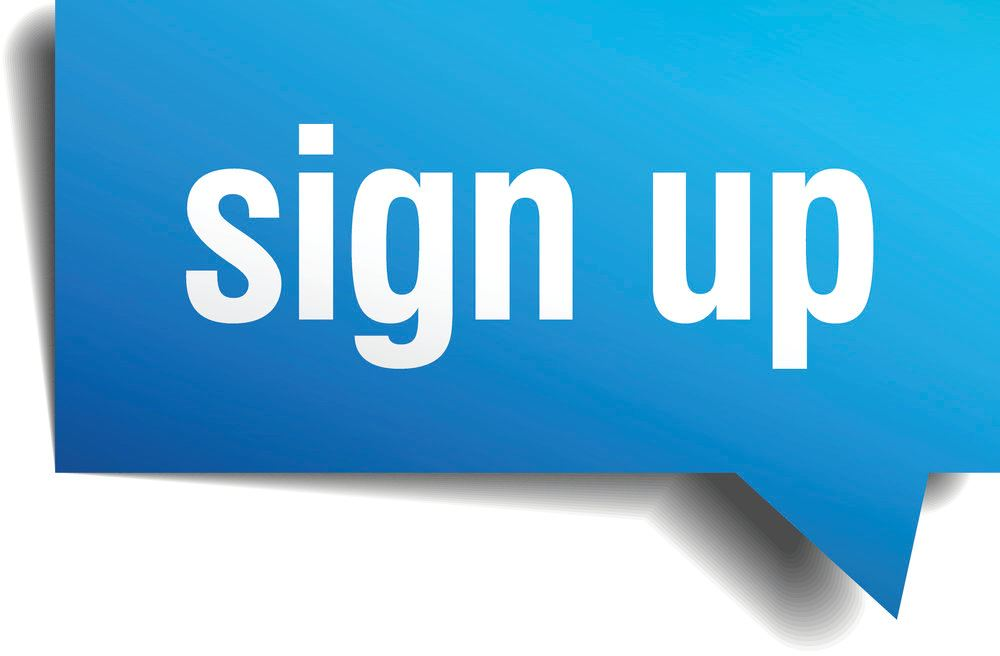 Sign up blue sign